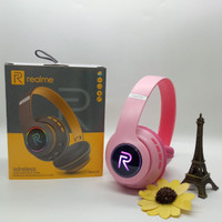 Realme Headphone RMA 66 Wireless Bluetooth With Light - Merah Muda