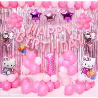 Paket set balon hello kitty ulang tahun birthday ultah anak pink