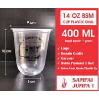 SABLON CUP GELAS PLASTIK 14 OZ 14OZ OVAL BSM 7GR + CUSTOM LOGO