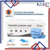 KUKE Facemask 50s / BOX Masker Wajah Kesehatan 3ply/Masker Mulut BNPB - BOSM