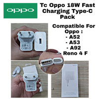 ORIGINAL CHARGER OPPO A92 A52 A53 A33 RENO 4F 18W USB TYPE C