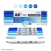TOMBOW ABT PRO 5 Warna Blue Blend Set Dual Brush Pen Alcohol-Based