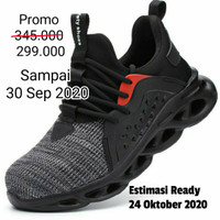 sepatu safety shoes SPORT (SSL-02) RINGAN (UJUNG BESI) - Hitam