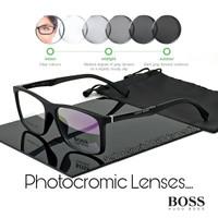 frame kacamata pria Boss Paket Lensa minus anti radiasi UV