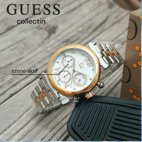 JAM TANGAN WANITA GUESS COLLECTION RANTAI ALL STAINLES CHRONO AKTIF - silver white