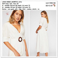 AB255722 Belt Long Dress Midi Kemeja Putih White Wanita Korea Import