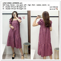 AB955898 Casual Long Dress Midi Kotak Pink Wanita Korea Import