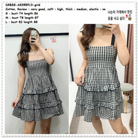 AB355913 Casual Layer Mini Dress Kotak Hitam Putih Wanita Korea Import