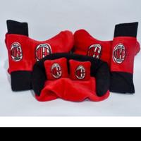 Bantal Mobil AC Milan Merah 3in1 Car Set Pillow Club Bola AC Milan Red