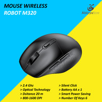 Mouse Wireless Robot M320 Optical Mouse Komputer PC Laptop - Hitam