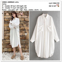AB855684 Midi Mini Dress Kemeja Putih White Wanita Korea Import Tunik