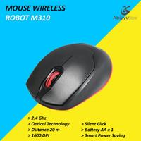 Mouse Wireless Robot M310 Optical Mouse Komputer PC Laptop - Hitam