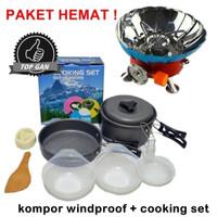 Paket Kompor Windproof dan Alat Masak Camping Cooking Set DS SY 200