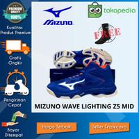 Sepatu volly Mizuno terbaru wave lightning z5 biru oranye 2020 pria