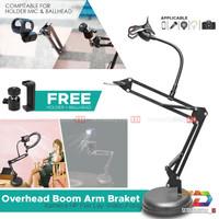 Stand Mic / Hp / Camera / LED Light Meja Overhead Boom Arm Foto Video