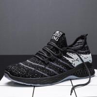 Sepatu Import Sneakers Pria Dash v.1 + Include Box & Free Kaos Kaki - Hitam Putih, 39