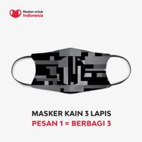 Masker Kain 3 Lapis (3 Ply) Earloop - Desain oleh Akronim