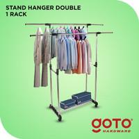 Goto Maden Double Stand Hanger Rak Serbaguna Dengan 4 Roda