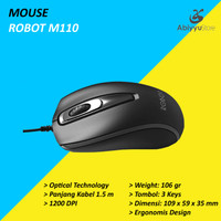 Mouse Robot M110 Optical USB Wired Cable Mouse Komputer PC Laptop