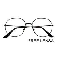 Kacamata wanita pria vintage free lensa minus cylinder plus - Hitam