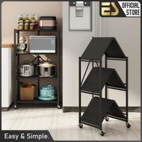 ES Rak Dapur Multi-fungsi tanpa Instalasi Rak Penyimpanan Rak Lipat