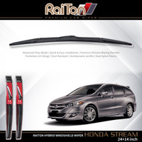 "Raiton Sepasang Wiper Hybrid Kaca Depan Mobil Honda Stream 24"" & 14"""