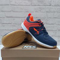 Sepatu Badminton Lining Attack G6 Original Navy Orange aytq 082-4
