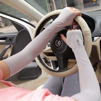 Sarung Tangan Lengan Nyetir Manset Panjang Spandek Hand Sock Anti UV - Putih
