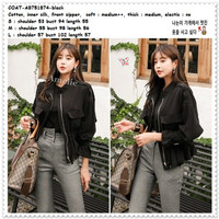 AB751874 Fashion Jacket Jaket Bomber Wanita Korea Import Hitam Black