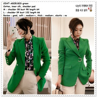 AB251820 Blazer Kerja Formal Jas Cardigan Wanita Korea Import Green