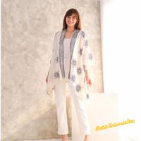 Kimono Outer Batik Asymmetric Cardigan - Snowman natal christmas