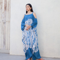 Long Strap Kaftan Light Navy - Nyaman Rayon Premium Biru Dress