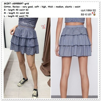 AB955897 Rok Mini Skirt Kotak Tartan Layer Tumpuk Wanita Korea Import