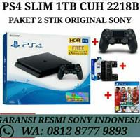 PS4 Slim 1TB Garansi Resmi Sony Indo Paket 2 Stik Original
