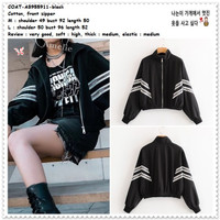 AB955911 Sporty Jacket Jaket Bomber Wanita Korea Import Hitam Black