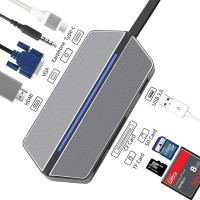 ZForce USB 3.0 Hub Type C 8in1 - Card Reader Compact Flash HDMI VGA