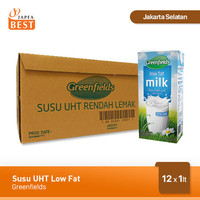 Susu UHT Low Fat Greenfields [12 Pcs x 1 Liter]