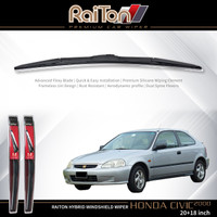 "Raiton Sepasang Wiper Hybrid Kaca Depan Mobil Honda Civic 20"" & 18"""