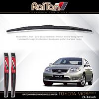 """Raiton Sepasang Wiper Hybrid Kaca Depan Toyota Vios 2003-ON 22"""" & 14"""""""