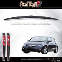 "Raiton Sepasang Wiper Hybrid Kaca Depan Mobil Honda Civic FD 26"" & 22"""