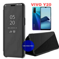 Flip Cover VIVO Y20 Clear View Mirror standing Case Casing