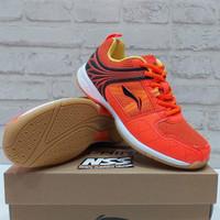 Sepatu Badminton Lining Attack G6 Original Orange Black aytq 082-6