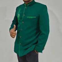 Jas Koko hijau botol motif MW jasko busana muslim pria by jasco