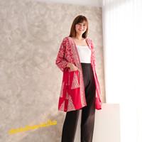 Long outer kimono batik tunik cardigan - Xmas Tree natal