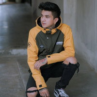 jaket cagoule waterproof Taslan genious bordir Allsize Pria wanita - Kuning, All Size