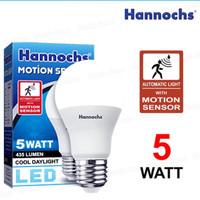 lampu led hannochs motion sensor gerak 5 watt
