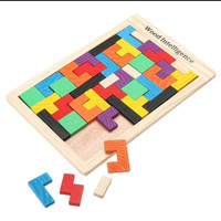 mainan kayu model tetris puzzle multi color