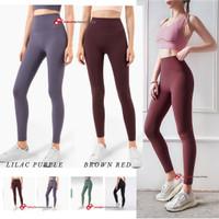Celana Panjang Olahraga Wanita Model High Waist Ketat untuk Fitness - BROWN RED, M