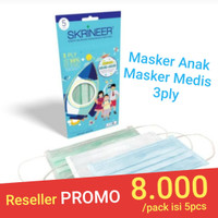 Masker Skrineer Anak Earloop Pack 3ply isi 5 pcs Original