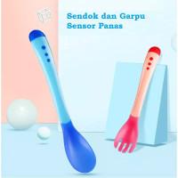 Sendok Makan Bayi / Sendok Makan Bayi Sensor Panas Spoon Fork Set Heat